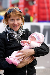 Brigita Langerholc with her one month old daughter Taya the 14th Marathon of Ljubljana, on October 25, 2009, in Ljubljana, Slovenia.  (Photo by Vid Ponikvar / Sportida)