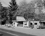 Ackroyd 06354-74 exterior of Crab Broiler, Cannon Beach, Oregon. September 21, 1955. (Location at Cannon Beach Junction of Highway 26 and US 101, 4 miles south of Seaside. Images published in Restaurant Management magazine, January 1956, pg. 68)