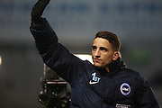 Brighton & Hove Albion winger Anthony Knockaert salutes the Albion fans at the final whislte during the EFL Sky Bet Championship match between Brighton and Hove Albion and Sheffield Wednesday at the American Express Community Stadium, Brighton and Hove, England on 20 January 2017. Photo by Bennett Dean.