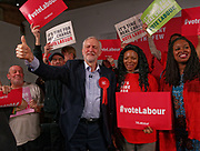 London, United Kingdom - 11 December 2019<br /> Labour Party leader Jeremy Corbyn speaking at their final campaign rally before the General Election 2019 at Hoxton Docks, London, England, UK.<br /> (photo by: EQUINOXFEATURES.COM)<br /> Picture Data:<br /> Photographer: Equinox Features<br /> Copyright: ©2019 Equinox Licensing Ltd. +443700 780000<br /> Contact: Equinox Features<br /> Date Taken: 20191211<br /> Time Taken: 21564550<br /> www.newspics.com