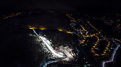 26.11.2017, Nordic Arena, Ruka, FIN, Nordic Opening, Kuusamo, im Bild die Rukatunturi Schanze und das Langlaufstadion bei Flutlicht und dem Ort aus der Luft aufgenommen // Arial View of the Rukatunturi ski jumping Hill, the Cross Country Stadium with floodlight during the Nordic Opening at the Nordic Arena in Ruka, Finland on 2017/11/26. EXPA Pictures © 2017, PhotoCredit: EXPA/ JFK