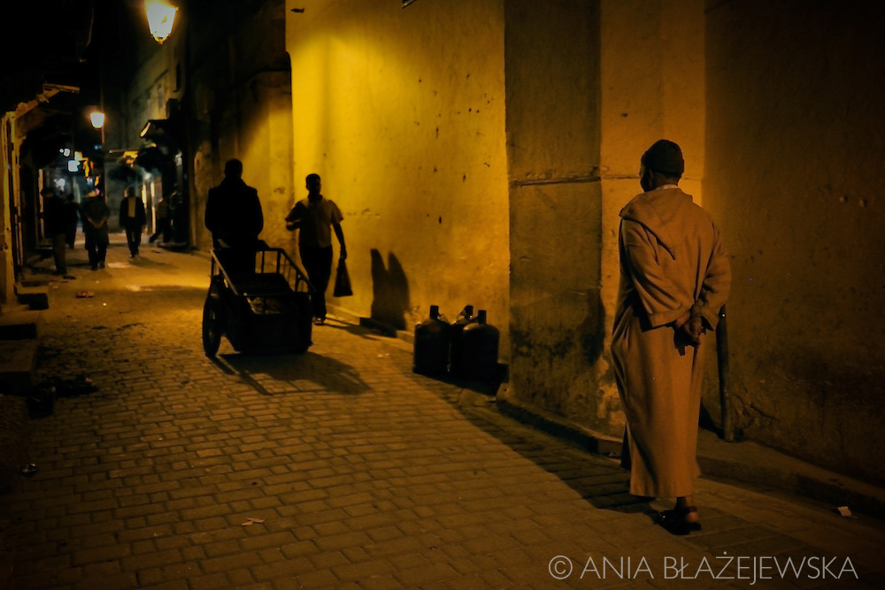Morocco, Fez. Streets the medina of Fez late in the evening.
