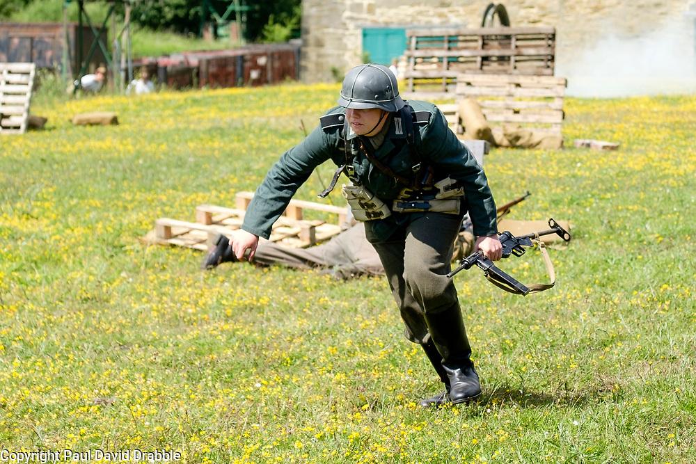 Bowes Railway Springwell Village 1940s weekend Battle re-enatment German troops under fire<br /> <br />  Copyright Paul David Drabble<br />  30 June 2019<br />  www.pauldaviddrabble.co.uk