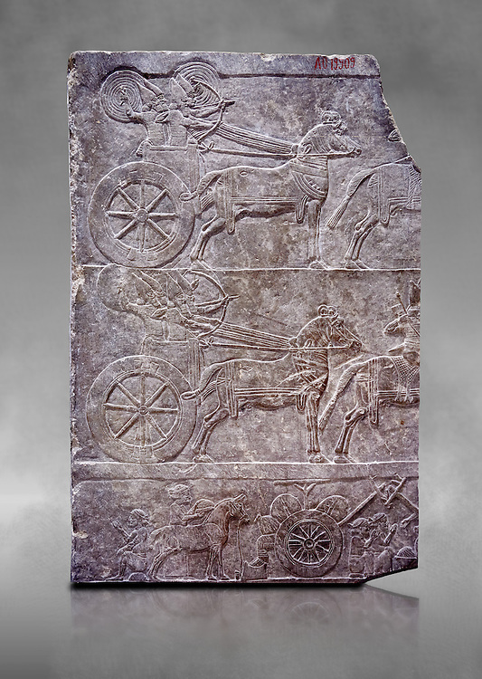 Stone relief sculptured panel of aa Assyrian Chariot. From the palace of Assurbanipal room VI/T1, Nimrud, third quarter of the 8th century BC. inv 19909  Louvre Museum , Paris .<br /> <br /> If you prefer to buy from our ALAMY PHOTO LIBRARY  Collection visit : https://www.alamy.com/portfolio/paul-williams-funkystock/ancient-assyria-antiquities.html  Refine search by adding background colour, place, subject, museum etc into the LOWER SEARCH WITHIN GALLERY box to <br /> <br /> Visit our ANCIENT ASSYRIAN PHOTO COLLECTIONS for more photos to download or buy as wall art prints https://funkystock.photoshelter.com/gallery-collection/Ancient-Assyrian-Art-Artefacts-Antiquities-Historic-Sites-Pictures-Images-of/C0000cjRqQyJjLag