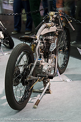 Jean-Claude Barrois' custom 1926 Rudge 500 cc racer with 1956 BSA 4-speed gear box on display in the AMD World Championship of Custom Bike Building show in the custom dedicated Hall 10 at the Intermot Motorcycle Trade Fair. Cologne, Germany. Saturday October 8, 2016. Photography ©2016 Michael Lichter.