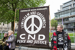 London, UK. 3 May, 2019. Campaigners from Campaign For Nuclear Disarmament (CND), Stop the War Coalition, the Peace Pledge Union, the Quakers and other faith groups protest outside Westminster Abbey against the holding of a National Service of Thanksgiving to mark fifty years of the Continuous at Sea Deterrent (CASD) attended by dignitaries including the Duke of Cambridge and the newly appointed Defence Secretary Penny Mordaunt.