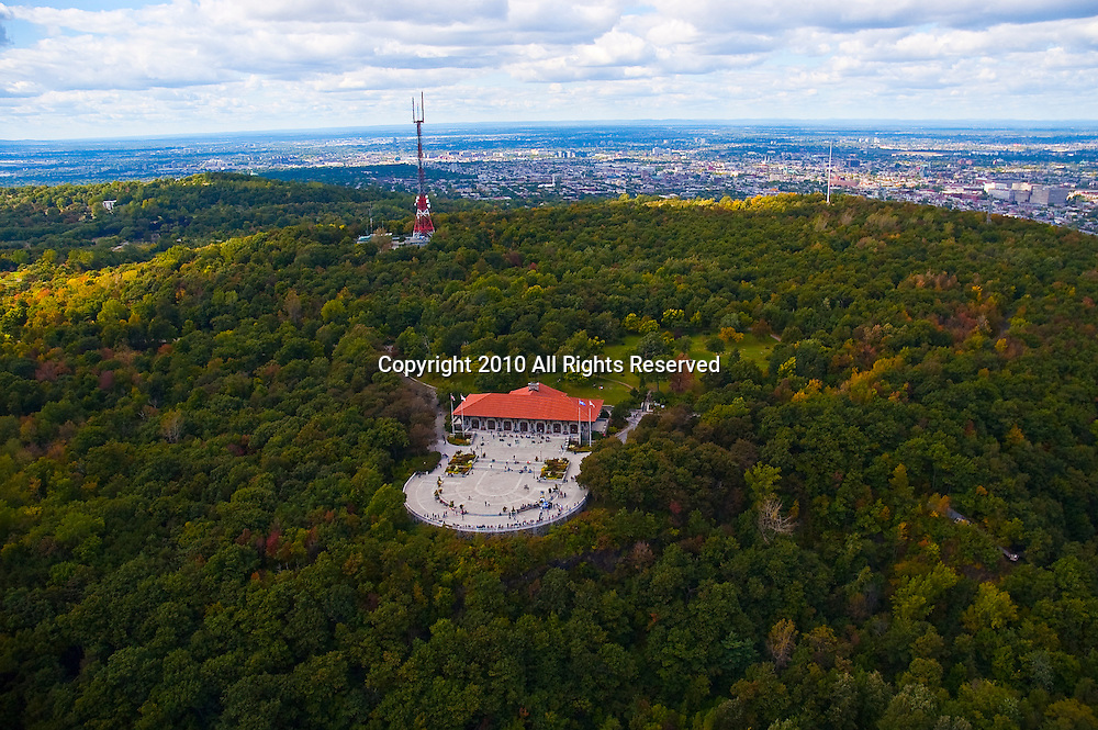 Aerial view of Chalet Du Mont Royal, Montreal Canada