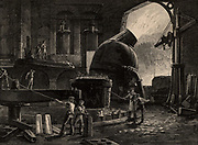Steel manufacture by the Bessemer process in operation in Sheffield, England. Molten metal from the Converter, centre right, is being poured from the bottom of a ladle into moulds.   From 'Great Industries of Great Britain' (London, c1880).  Engraving.