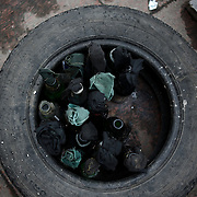 Cocktail Molotov are seen near a barricade outside the Donbass Regional Government building in central Donetsk. Barricades around the building, occupied since the past weekend, have been fortified throughout the day, as the ultimatum given by the government in Kiev for the activists to abandon the building within 48 hours, is approaching its deadline.