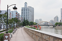 walkway beside the huangpu river in Shanghai China