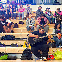 041913       Cable Hoover<br /> <br /> Miyamura High School sophomore Delwin Shurley gets warmed up for his part in talent show and fundraiser at Miyamura High School Friday.