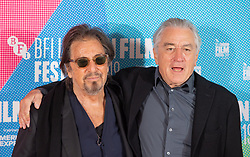 Al Pacino (left) and Robert De Niro during a photocall for The Irishman as part of the BFI London Film Festival 2019 held at The May Fair Hotel , London.