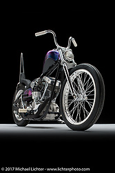 """""""Space Cowboy"""", a purple shovelhead chopper built by Justin McNeely of Hooked On Speed Cycles in Jackson, MO. Photographed by Michael Lichter in Sturgis, SD on August 1, 2017. ©2017 Michael Lichter."""