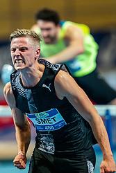 Koen Smet in action on the 60 meter hurdles final during AA Drink Dutch Athletics Championship Indoor on 21 February 2021 in Apeldoorn.