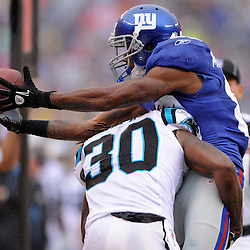 New York Giants wide receiver Mario Manningham (82) recovers the ball after Carolina Panthers safety Charles Godfrey (30) knocked it loose after a Manningham reception during second half NFL action in the New York Giants' 31-18 victory over the Carolina Panthers at New Meadowlands Stadium in East Rutherford, New Jersey.