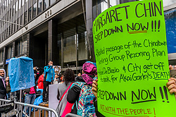 April 26, 2017 - New York, NY, United States - Chinatown, Lower East Side, and Lower Manhattan residents and workers protest NYC Council Member Margaret Chin's divisive and destructive rezoning and land use policies on April 26, 2017 outside the New York City Council building at 250 Broadway, to demands Council Member Chin to step down for collusion with luxury developers. (Credit Image: © Erik Mcgregor/Pacific Press via ZUMA Wire)