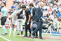 Real Madrid's Karim Benzema injured during La Liga match between Real Madrid and Levante UD at Santiago Bernabeu Stadium in Madrid, Spain September 09, 2017. (ALTERPHOTOS/Borja B.Hojas)