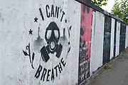 I cant breathe street art graffiti on 9th June 2020 in Birmingham, United Kingdom. Following the tragic death of George Floyd, who pleaded 'I can't breathe' as a US police officer pressed a knee into his neck, has inspired new street art in Birmingham. The stencil artwork has been painted in variour locations in the Kings Heath area by Birmingham-based artist, Mohammed Ali, and is an act of solidarity according to the artist.