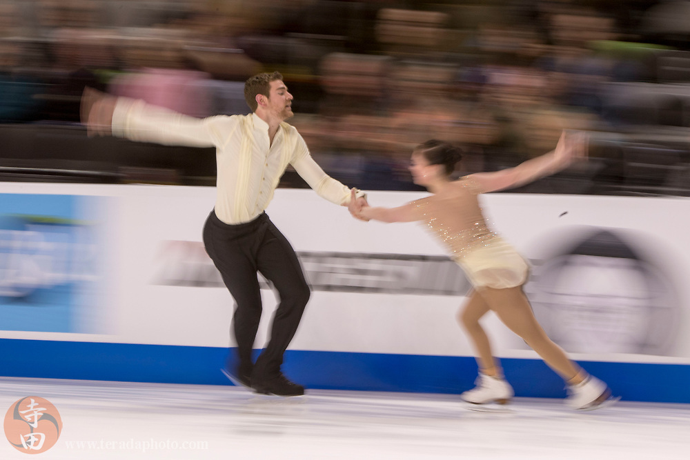 January 4, 2018; San Jose, CA, USA; Haven Denney and Brandon Frazier performs in the pairs short program during the 2018 U.S. Figure Skating Championships at SAP Center.