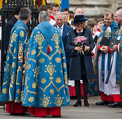© London News Pictures. 09/03/2015.  Charles, Prince of Wales and Camilla, Duchess of Cornwall leaving the annual Commonwealth Day Observance at Westminster Abbey, London. The Observance is Britain's largest annual inter-faith gathering, held on the second Monday in March and organised with the Royal Commonwealth Society.  Photo credit: Ben Cawthra/LNP