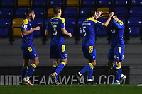 Football - 2020 / 2021 Sky Bet League One - AFC Wimbledon vs Peterborough United - Plough Lane<br /> <br /> AFC Wimbledon's Ryan Longman celebrates scoring the opening goal with Will Nightingale.<br /> <br /> COLORSPORT/ASHLEY WESTERN