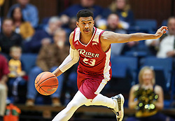 Nov 28, 2018; Morgantown, WV, USA; Rider Broncs guard Stevie Jordan (23) dribbles the ball up the floor during the first half against the West Virginia Mountaineers at WVU Coliseum. Mandatory Credit: Ben Queen-USA TODAY Sports