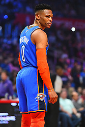 March 8, 2019 - Los Angeles, CA, U.S. - LOS ANGELES, CA - MARCH 08: Oklahoma City Thunder Guard Russell Westbrook (0) looks on during a NBA game between the Oklahoma City Thunder and the Los Angeles Clippers on March 8, 2019 at STAPLES Center in Los Angeles, CA. (Photo by Brian Rothmuller/Icon Sportswire) (Credit Image: © Brian Rothmuller/Icon SMI via ZUMA Press)