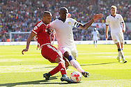 Last ditch tackle on Middlesbrough midfielder Emilio Nsue by Leeds United defender Souleymane Bamba  during the Sky Bet Championship match between Middlesbrough and Leeds United at the Riverside Stadium, Middlesbrough, England on 27 September 2015. Photo by Simon Davies.