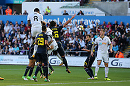 Leroy Fer of Swansea city (8) rises highest to score his teams 1st goal with a header. Swansea city v Sampdoria , pre-season friendly at the Liberty Stadium in Swansea, South Wales on Saturday August 5th 2017.<br /> pic by Andrew Orchard, Andrew Orchard sports photography.