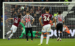 West Ham United's Mark Noble scores his side's second goal of the game from a penalty during the Premier League match at London Stadium.