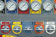 fire trucks control panel with dials and gauges