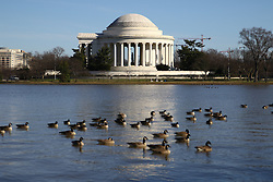 THEMENBILD - Blick auf das Jefferson Memorial und das Tidal Bassin. Reisebericht, aufgenommen am 14. Jannuar 2016 in Washington D.C. // View of the Jefferson Memorial and the Tidal Basin. Travelogue, Recorded January 14, 2016 in Washington DC. EXPA Pictures © 2016, PhotoCredit: EXPA/ Eibner-Pressefoto/ Hundt<br /> <br /> *****ATTENTION - OUT of GER*****