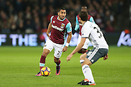 Dimitri Payet of West Ham United in action. Premier league match, West Ham Utd v Manchester Utd at the London Stadium, Queen Elizabeth Olympic Park in London on Monday 2nd January 2017.<br /> pic by John Patrick Fletcher, Andrew Orchard sports photography.