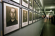 Portraits of prisoners at the Auschwitz Nazi concentration camp, now part of the museum at the site. It is estimated that between 1.1 and 1.5 million Jews, Poles, Roma and others were killed here in the Holocaust between 1940-1945.