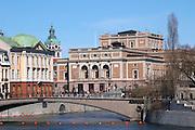 Kungliga Operan, The Royal Swedish Opera House. Stockholms Ström water. Norrmalm. Stockholm. Sweden, Europe.