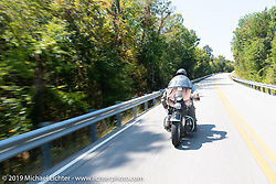 Willie Earhart riding his 1948 Harley-Davidson Panhead in the Cross Country Chase motorcycle endurance run from Sault Sainte Marie, MI to Key West, FL (for vintage bikes from 1930-1948). Stage 5 had riders cover 213 miles from Bowling Green, KY to Chatanooga, TN USA. Tuesday, September 10, 2019. Photography ©2019 Michael Lichter.