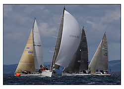 The final days racing at the Bell Lawrie Yachting Series in Tarbert Loch Fyne ..The overall winners were decided in most classes on the last days racing...GBR6942R Bavaria Match 42 Sidney helmed by Hamish McKay .