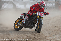 Hooligan flattracker (no. 47) Jordan Graham on his Indian Motorcycle race bike in the Hooligan races on the temporary track in front of the Sturgis Buffalo Chip main stage during the Sturgis Black Hills Motorcycle Rally. SD, USA. Wednesday, August 7, 2019. Photography ©2019 Michael Lichter.