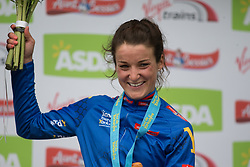 Lizzie Deignan (GBR) of Boels-Dolmans Cycling Team celebrates the sprint jersey after the Tour de Yorkshire - a 122.5 km road race, between Tadcaster and Harrogate on April 29, 2017, in Yorkshire, United Kingdom.