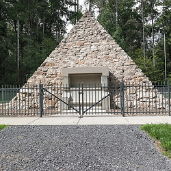 Fort Loudon, PA, USA - September 14, 2014: Pyramid memorial of President James Buchanan, 15th President of the United States, at the site of the log cabin where he was born in Cove Gap, near Mercersburg, Pennsylvania.