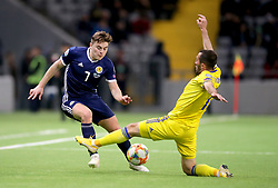 Kazakhstan's Gafurzhan Suyumbayev (right) and Scotland's James Forrest (left) battle for the ball during the UEFA Euro 2020 Qualifying, Group I match at the Astana Arena.