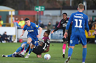 AFC Wimbledon midfielder Callum Reilly (33) winning ball in midfield during the EFL Sky Bet League 1 match between AFC Wimbledon and Peterborough United at the Cherry Red Records Stadium, Kingston, England on 18 January 2020.