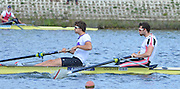 Reading. United Kingdom.  GBR M2-.  Bow. Matthew GOTREL and Paul BENNETT, in the opening strokes of the morning time trial. 2014 Senior GB Rowing Trails, Redgrave and Pinsent Rowing Lake. Caversham.<br /> <br /> 11:08:32  Saturday  19/04/2014<br /> <br />  [Mandatory Credit: Peter Spurrier/Intersport<br /> Images]