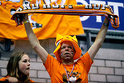 18-05-2008 VOLLEYBAL: EK KWALIFICATIE NEDERLAND - SLOVENIE: ROTTERDAM<br /> Nederland wint ook de laatste wedstrijd met 3-0 - Publiek support oranje<br /> ©2008-WWW.FOTOHOOGENDOORN.NL