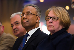© Licensed to London News Pictures. 01/05/2015. London, UK. Ex Mayor of Tower Hamlets, Lutfur Rahman listens to supporting speakers at a public meeting held at the Waterlily in Stepney, east London on 30th April 2015. The meeting was ex Mayor of Tower Hamlets, Lutfur Rahman's first public appearance after being found guilty of electoral fraud last week and called for attendees to donate money to a legal fund to facilitate an appeal against the High Court ruling. Photo credit : Vickie Flores/LNP