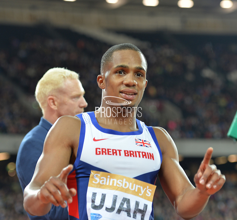 Chijindu Ujah at the Sainsbury's Anniversary Games at the Queen Elizabeth II Olympic Park, London, United Kingdom on 24 July 2015. Photo by Mark Davies.