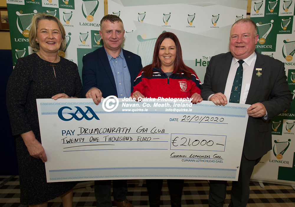 20-01-20. Leinster GAA Club Development Grant Cheque Presentations (See Press Release) at Aras Laighean, Portlaoise.<br /> GAA National Finance Manager Kathy Slattery and Jim Bolger (Right), Cathoirleach, Comhairle Laighean pictured presenting a cheque for €21,000 to Drumconrath GAA Club. Co. Meath represented by from left, Jason Plunkett, Meath GAA Development Office and Joanna Duff, Secretary, Drumconrath GAA Club.<br /> Photo: John Quirke / www.quirke.ie<br /> ©John Quirke Photography, Unit 17, Blackcastle Shopping Cte. Navan. Co. Meath. 046-9079044 / 087-2579454.