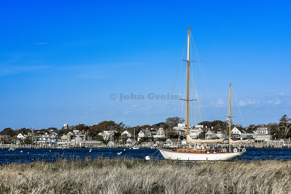 Wooden sailboat in Edgartown harbor, Martha's Vineyard, Massachusetts, USA