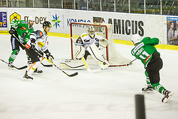 Ales Music of HDD Olimpija Ljubljana and Olivier Magnan, Thomas Stroj of Dornbirn Buldogs during ice-hockey match between HDD Olimpija Ljubljana and Dornbirn Buldogs in EBEL League 2016/17, on February 4th, 2017 in Hala Tivoli, Ljubljana, Slovenia. Photo by Grega Valancic / Sportida