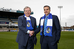 New Bristol Rovers Chairman Steve Hamer and New club President Wael Al-Qadi pose at the Memorial Stadium after a press conference to announce that Bristol Rovers has been aquired by the Jordanian Al-Qadi Family who have taken a 92 percent stake in the club - Mandatory byline: Rogan Thomson/JMP - 07966 386802 - 19/02/2016 - FOOTBALL - Memorial Stadium - Bristol, England - Bristol Rovers New Owners.